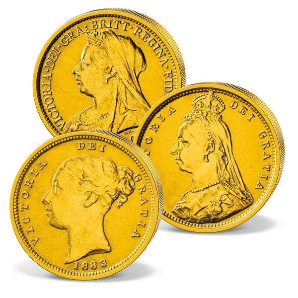 "Dreier-Set Goldmünzen UK ""Victoria"" Half Sovereign CH_2460074_1"